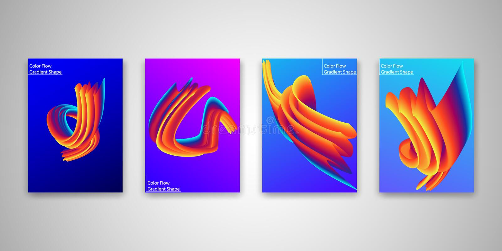 Abstract Color flow shape templates set, Liquid colorful gradient background collection. Vector Illustration.  stock illustration