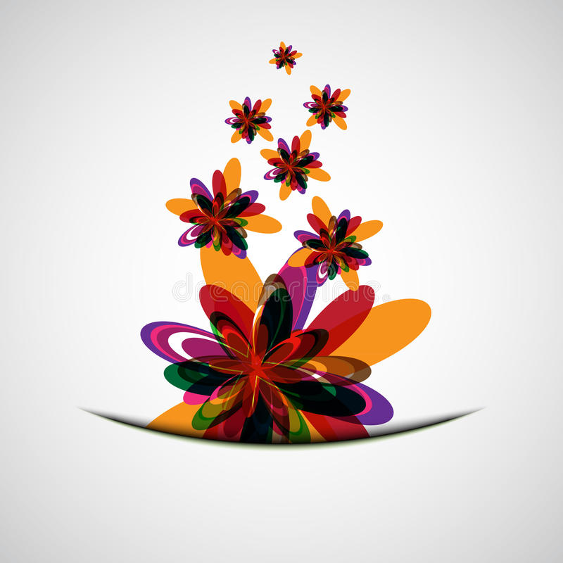 Abstract color flowers vector illustration