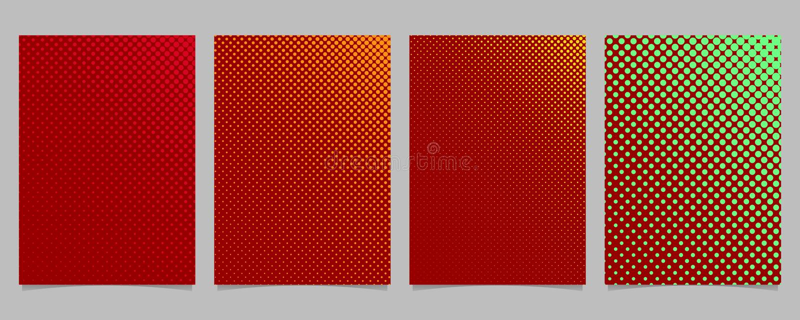 Abstract color halftone dot pattern cover template set - vector stationery background illustration with circles. Abstract color halftone dot pattern cover stock illustration