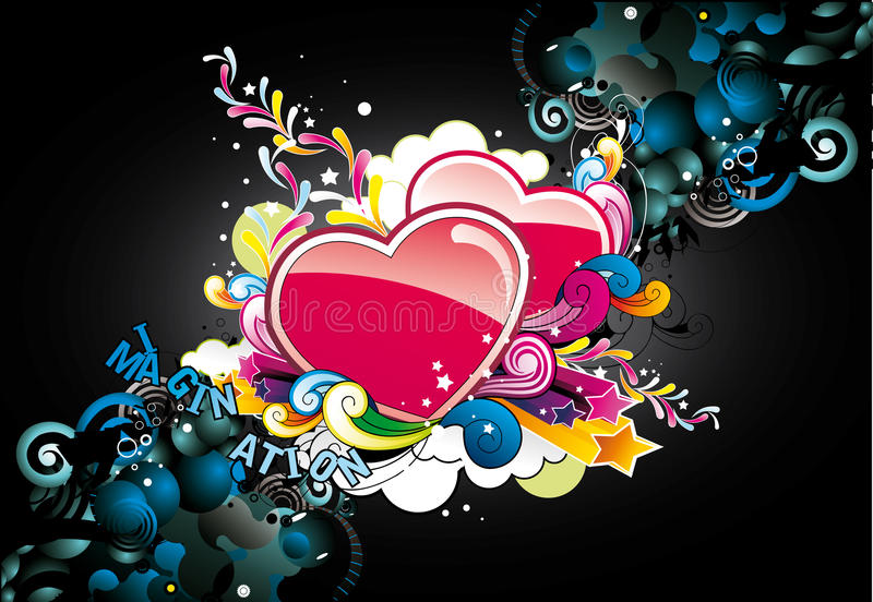 Abstract color hearts. Abstract color love and hearts vector illustration