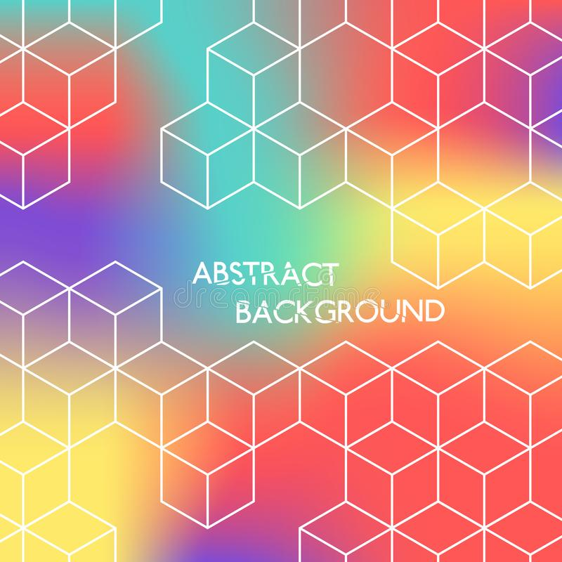 Abstract color hexagonal background. White cubes on colored background. vector illustration
