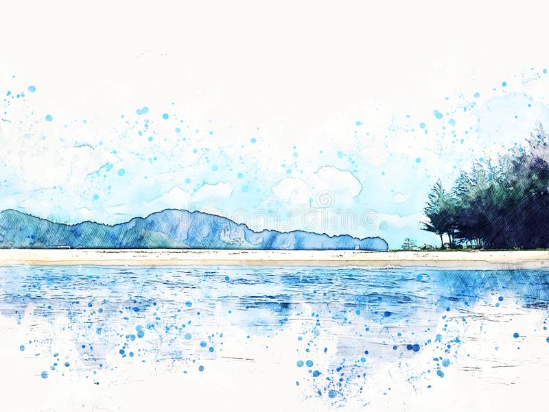 Abstract color mountain peak and sea water watercolor illustration painting. stock illustration