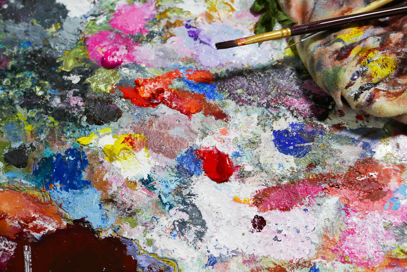 Abstract color Palette Acrylic Oil paint. Abstract art Paintin. Abstract color Palette Acrylic Oil paint Color texture. Spots of oil paint. Modern art. Abstract royalty free stock photography