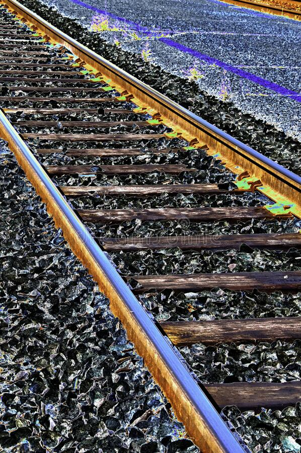 An Abstract color railroad solarization. An abstract color solarization of railroad tracks in the city of Minneapolis, Minnesota royalty free stock photo