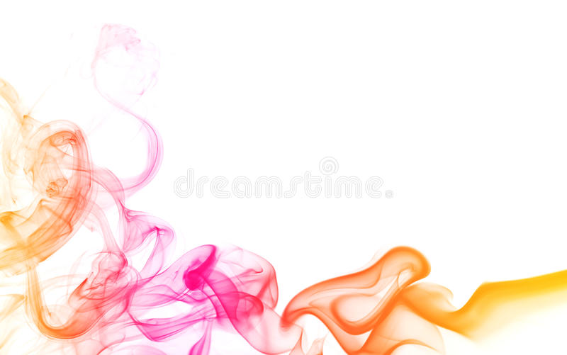 Abstract color smoke. Isolated on white background, with copy space royalty free stock photography