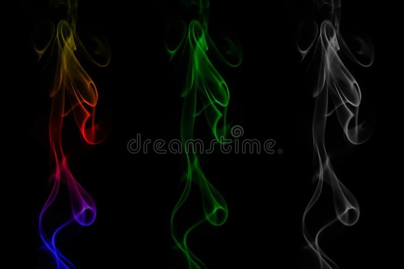 Abstract color smoke isolated on black stock photos