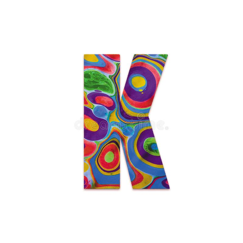 Abstract color splash font and alphabet o white background. Letter K. Abstract color splash font and alphabet on white background. Letter K royalty free stock photo