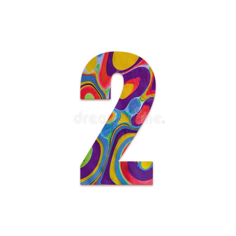 Abstract color splash font and alphabet o white background. Number 2. Abstract color splash font and alphabet on white background. Number 2 vector illustration