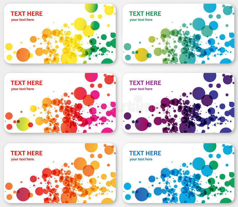 Abstract  color spotted banners visit cards