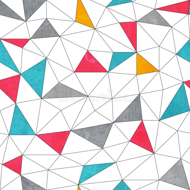 Abstract color triangle seamless pattern with grunge effect vector illustration