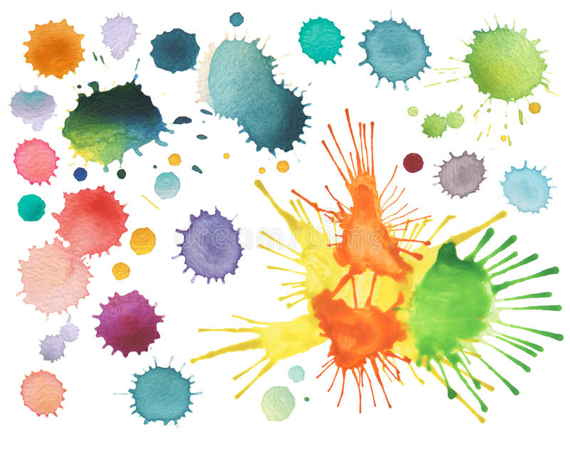 Abstract color watercolor blot stock images