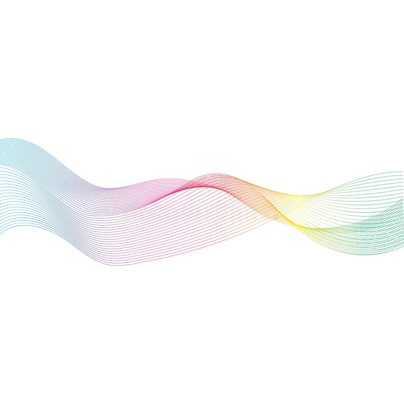 Abstract color wave flow design. Element, blue, green, bacground, vector, line, curve, water, nature, smoke, technology, effect, motion, white, modern, shape stock illustration