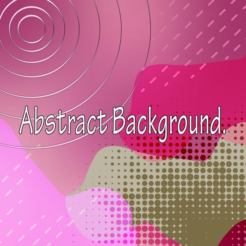 Abstract colored background. Flowing, wavy spots of pink, swamp and bright purplish red. Geometric patterns, circles, dots, lines stock illustration