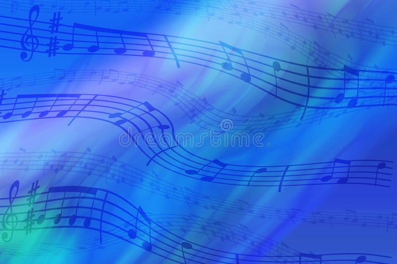 Abstract colored background on the theme of music. Background of wavy and colored stripes. Background of stylized musical notes stock images