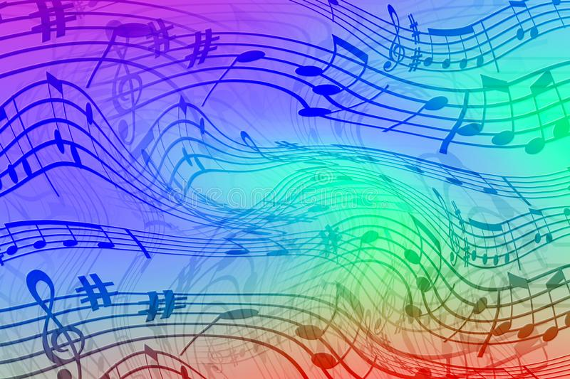Abstract colored background on the theme of music. Background of wavy and colored stripes. Background of stylized musical notes royalty free illustration