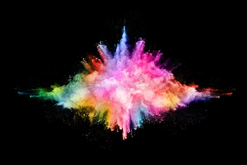 Abstract colored dust explosion on a black background. vector illustration