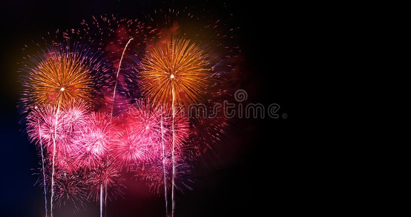 Abstract colored firework background with free copy space for text. Colorful celebration and anniversary concept for your design.  stock image