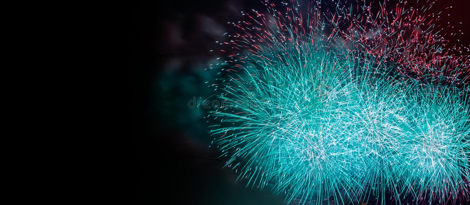 Abstract colored firework background with free copy space for text. Colorful celebration and anniversary concept for your design.  royalty free stock photos