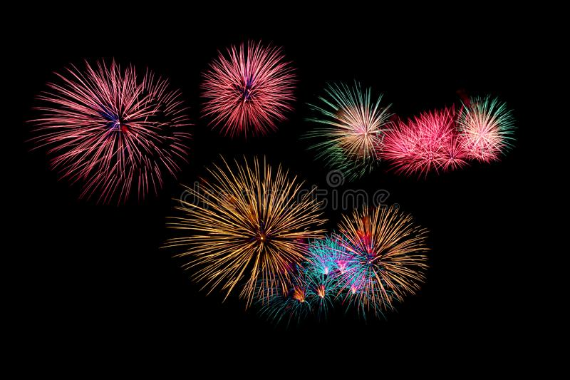 Abstract colored firework background with free space for text stock photos