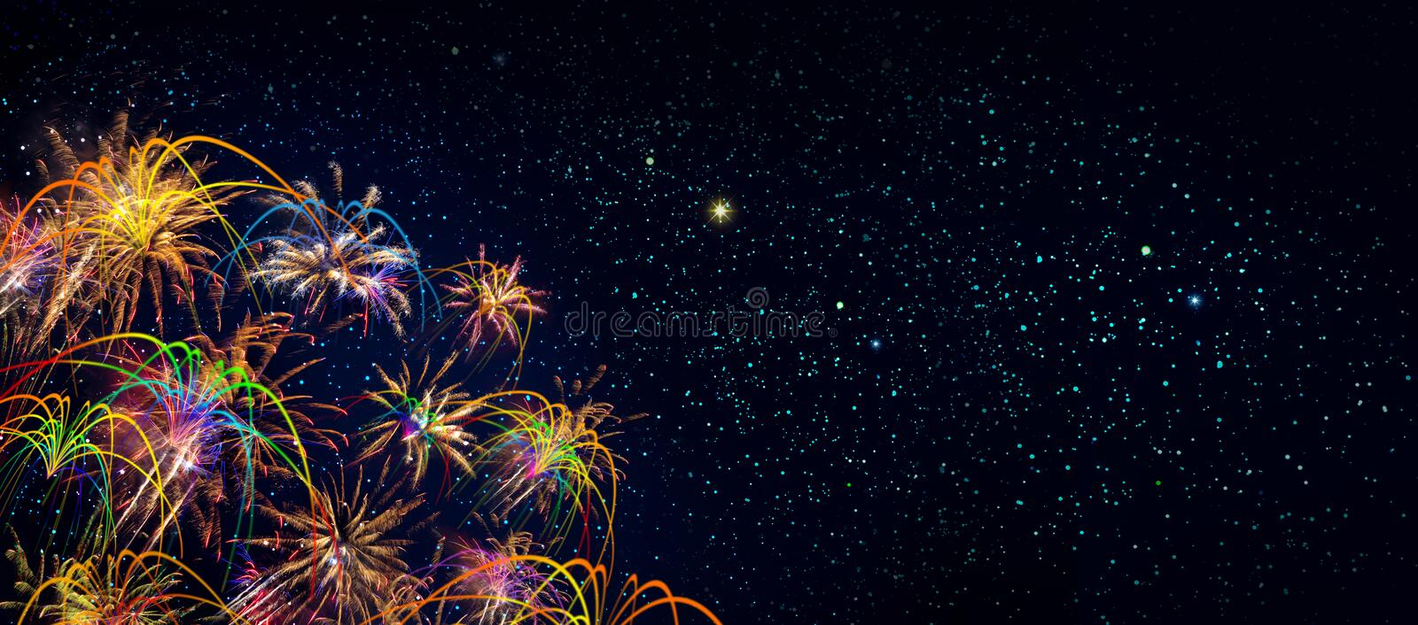 Abstract colored firework background . New Year background. royalty free stock photography