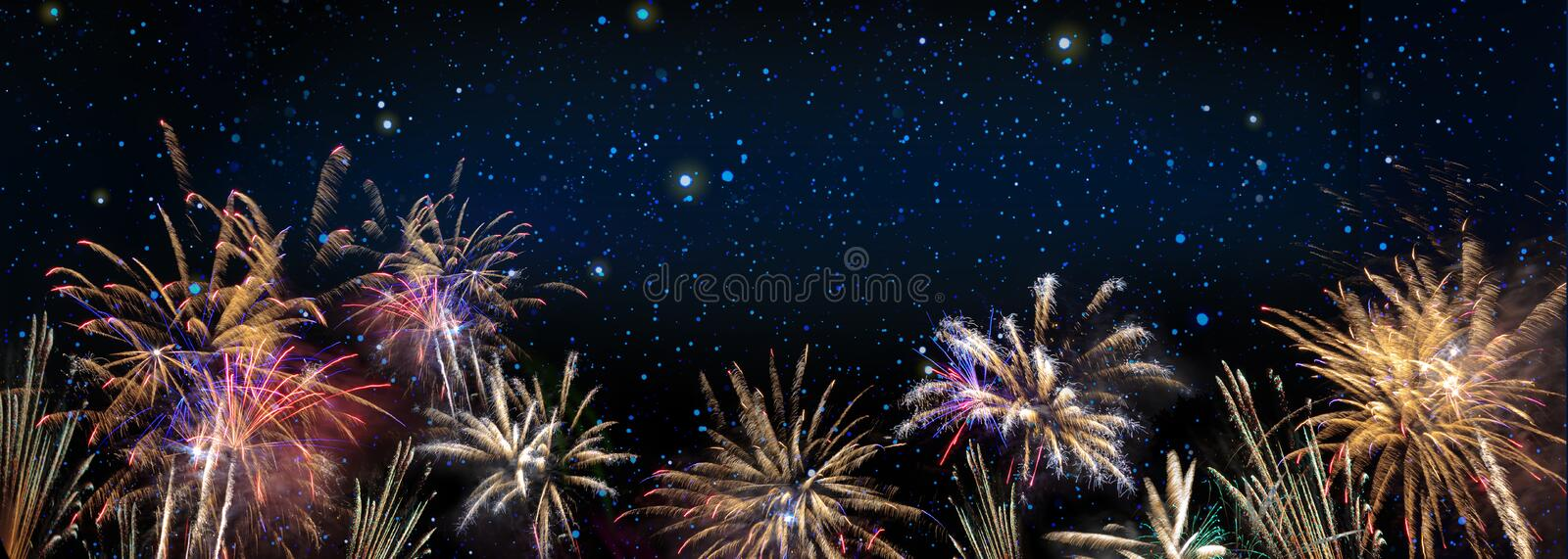 Abstract colored firework background . New Year background. royalty free stock photo