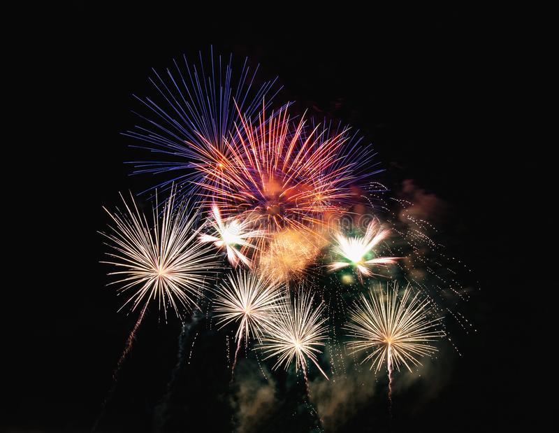 Abstract colored firework background used for overlay new year f royalty free stock photo