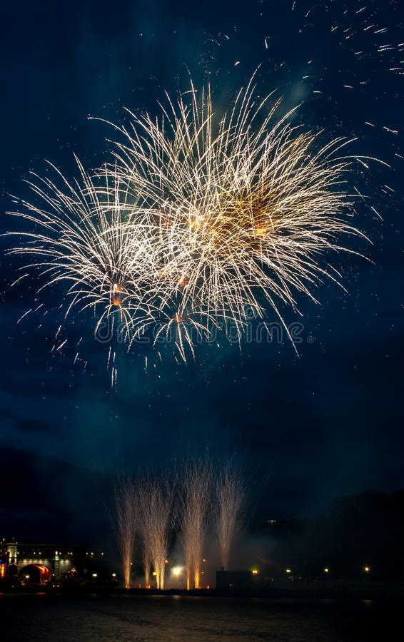 Abstract colored firework object. Variety of colors Mix Fireworks or firecracker burst. celebrate holiday travel night royalty free stock images
