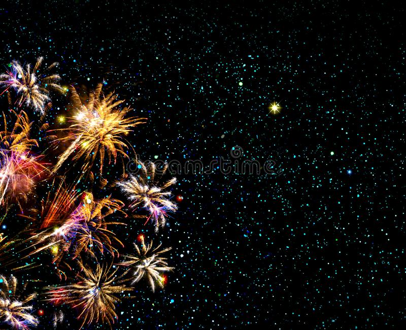 Abstract colored firework and stars sky. New Year background. stock photo
