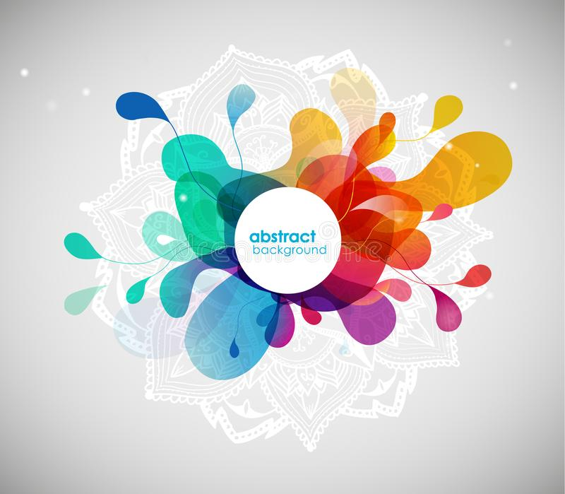 Abstract colored flower background with circles and mandala. Vector art royalty free illustration
