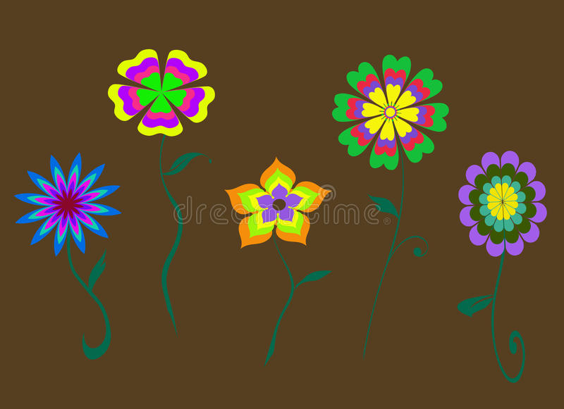 Abstract colored flowers background royalty free illustration