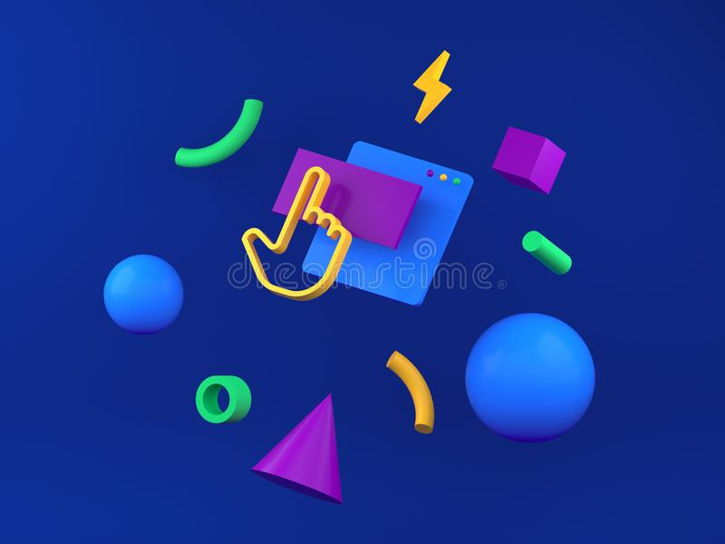 Abstract colored geometric shapes for web design. 3d render royalty free illustration