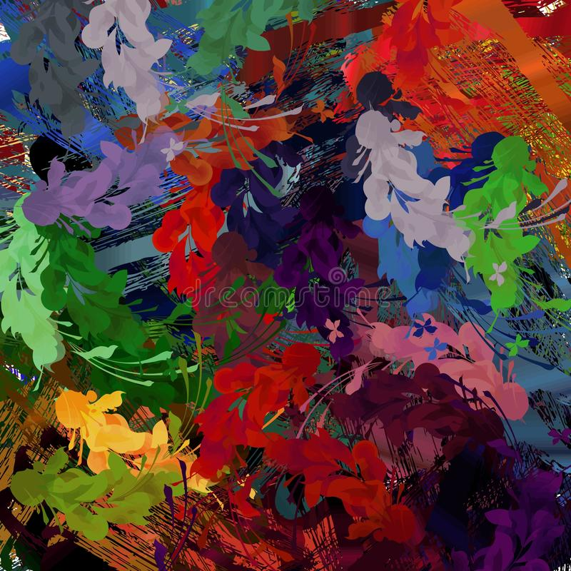 Abstract colored grunge texture of chaotic brush strokes for design of wallpaper, poster, illustration. stock image