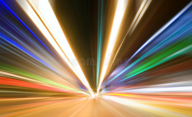 Abstract colored light. At night royalty free stock images