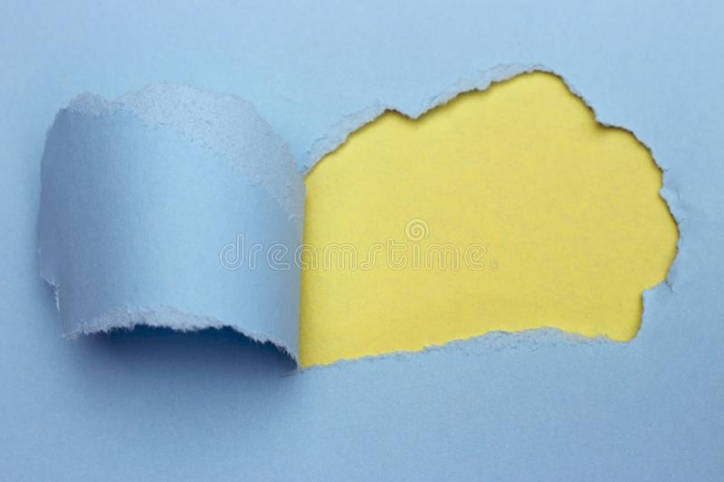 Abstract colored paper, Pastel yellow and blue background, torn paper royalty free stock photography