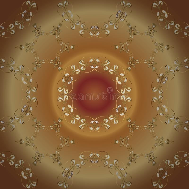 Brown and beige colors with golden elements stock illustration