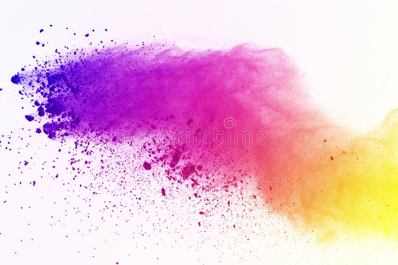 Explosion of colored powder, isolated on white background. Abstract of colored dust splatted. Color cloud. vector illustration
