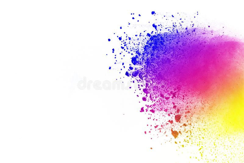 Explosion of colored powder, isolated on white background. Abstract of colored dust splatted. Color cloud. royalty free illustration