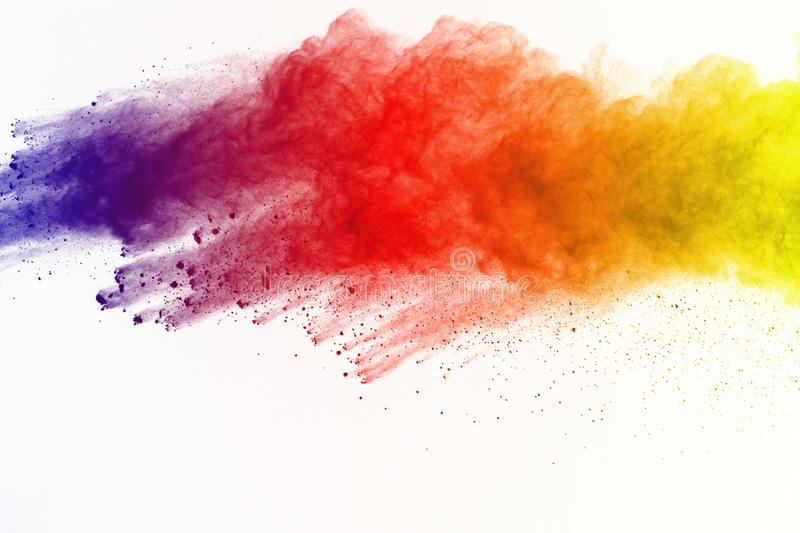 Abstract of colored powder explosion on white background. Multicolor powder splatted isolate. Colorful cloud. Colorful dust explod. E. Paint Holi stock images