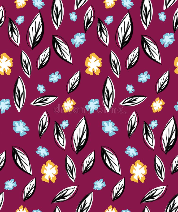 Abstract colored seamless pattern of fall, autumn leaves with flowers on dark red background. Ready for fabric, textile prints. stock illustration