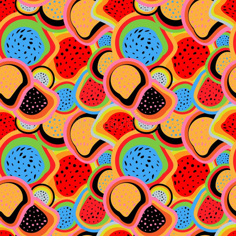 Abstract colored seamless pattern from a variety of shapes vector illustration