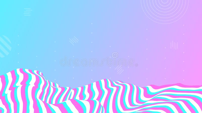 Abstract colored striped wavy landscape wallpaper. Modern sine line background. Op art layout design. vector illustration