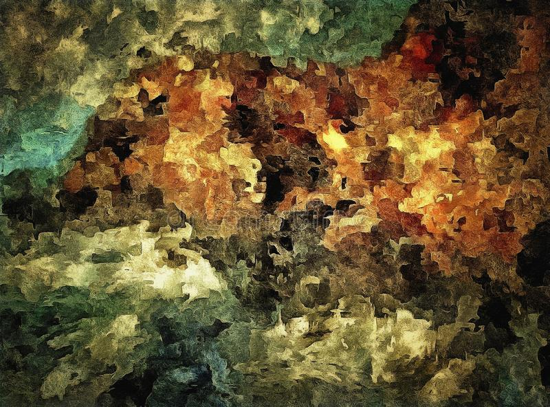 Abstract colored vintage grunge background with blurry chaotic paint strokes on textured canvas Computer generated graphics for de. Sign royalty free illustration