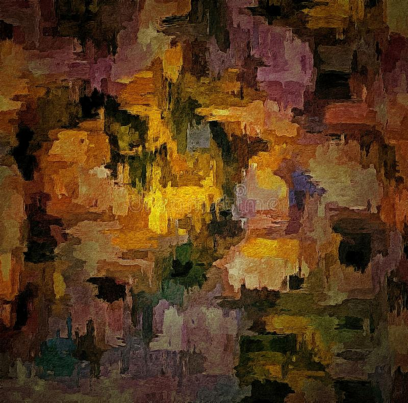 Abstract colored vintage grunge background with blurry chaotic paint strokes on textured canvas Computer generated graphics for de. Sign stock illustration