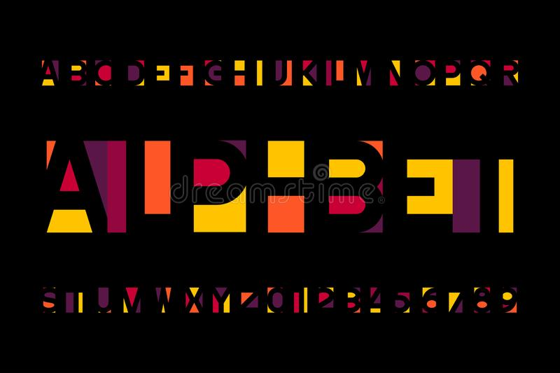 Abstract colorful alphabet font. Bright type letters and numbers in modern style. stock illustration