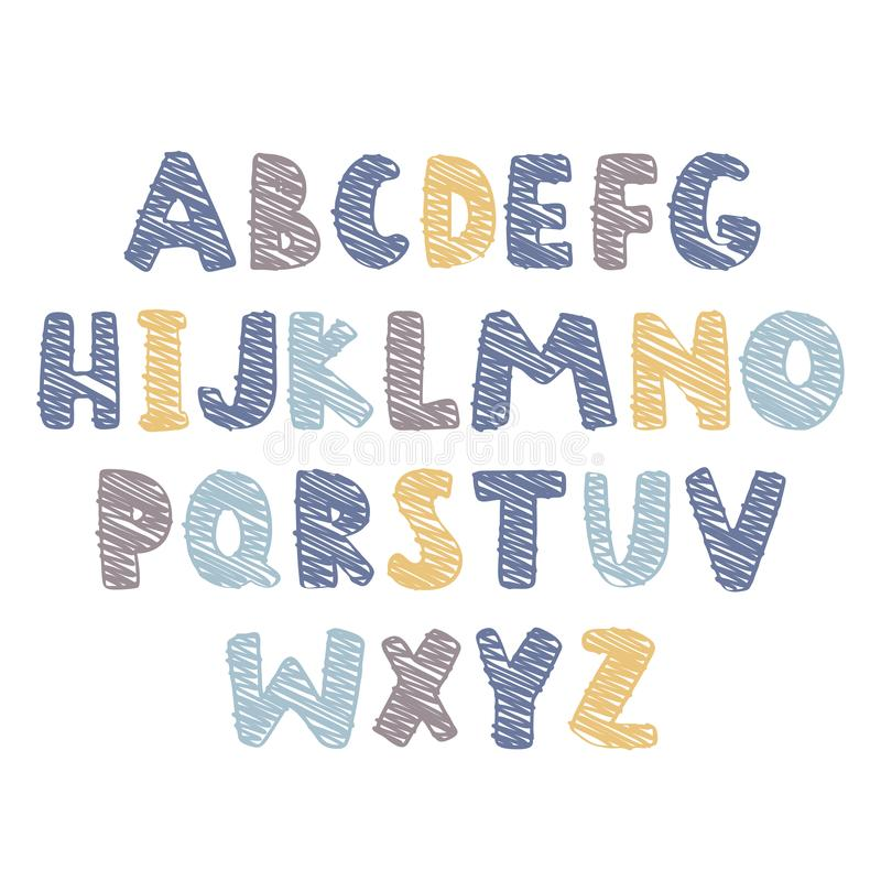 Abstract colorful alphabet for kids stuff. Vector Illustration. Vector Illustration. Abstract colorful alphabet for kids stuff royalty free illustration