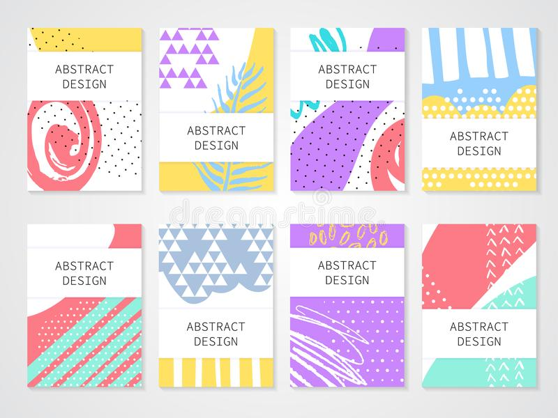 Abstract colorful backgronds set. Hand drawn templates for card, flyer and invitation design. Vector illustration vector illustration