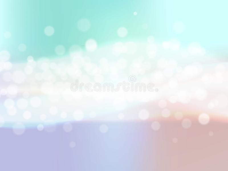 Abstract colorful background with blur bokeh light effect and waves. Vector illustration royalty free illustration