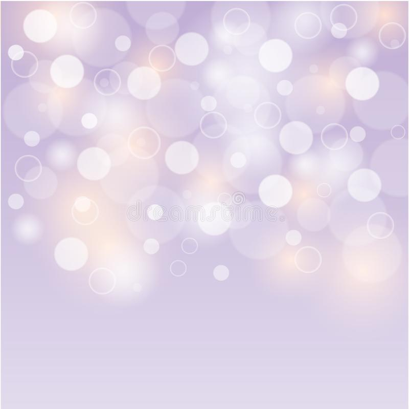 Soft purple background white bubbles or bokeh lights. Abstract colorful background, blurred bokeh lights on purple backdrop, floating round circle shapes or vector illustration