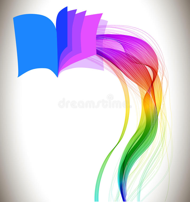 Abstract colorful background book icon and wave stock illustration