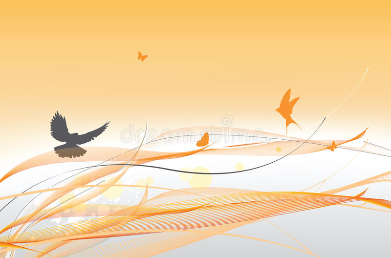 Abstract colorful background with butterfly. And dove stock illustration